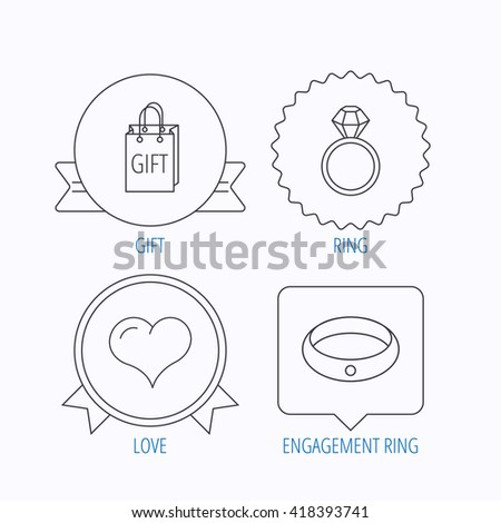 Love heart, gift bag and wedding ring icons. Engagement ring linear sign. Award medal, star label and speech bubble designs. Vector
