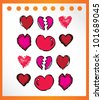 love heart hand drawn for couple- vector illustration - stock vector