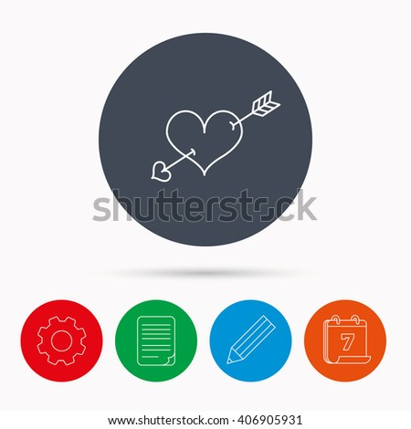 Love heart icon. Amour arrow sign. Calendar, cogwheel, document file and pencil icons. - stock vector