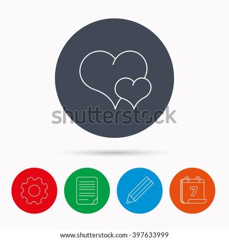 Love heart icon. Couple romantic sign. Calendar, cogwheel, document file and pencil icons. - stock vector