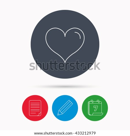 Love heart icon. Life sign. Calendar, pencil or edit and document file signs. Vector - stock vector