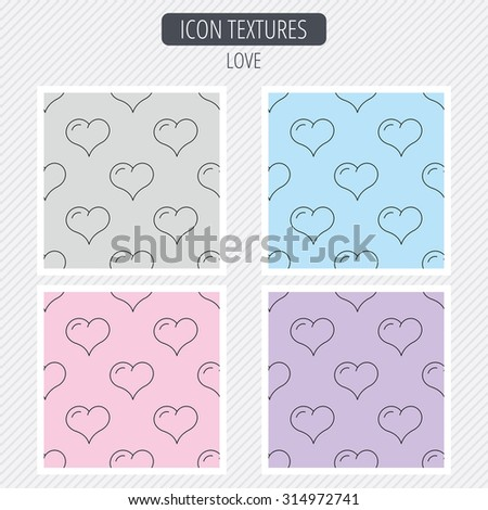 Love heart icon. Life sign. Diagonal lines texture. Seamless patterns set. Vector - stock vector