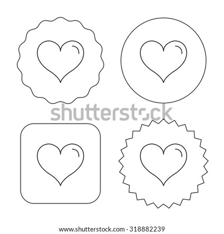 Love heart icon. Life sign. Flat circle, star and emblem buttons. Labels design. Vector - stock vector