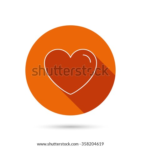 Love heart icon. Life sign. Like symbol. Round orange web button with shadow. - stock vector