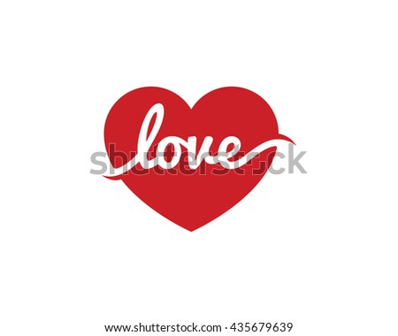 love heart logo and icon