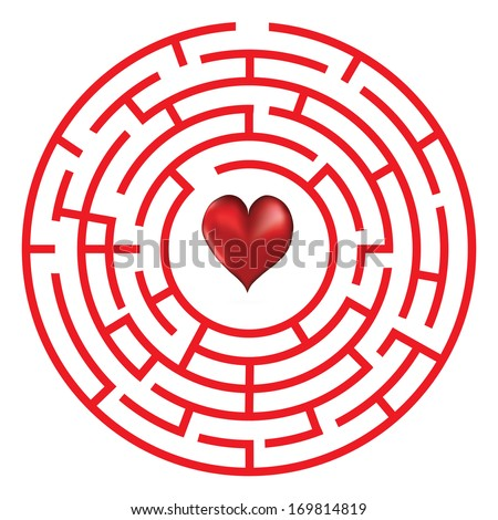 Love heart maze or labyrinth valentine's day vector illustration. - stock vector