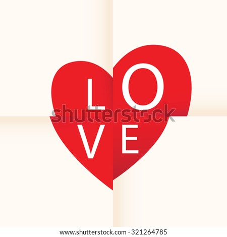 love heart paper background - stock vector