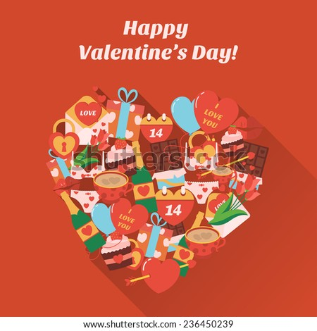 Love heart . Poster with text Happy Valentine's day. Vector - stock vector
