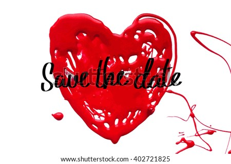 Love heart. Save the date. Vector illustration.