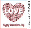 Love Heart Valentine's Day Card with Three Dimensional Effect - stock vector