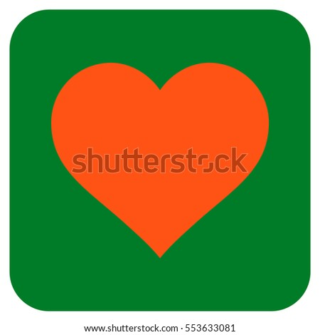 Love Heart vector icon. Image style is a flat icon symbol on a rounded square button, orange and green colors.