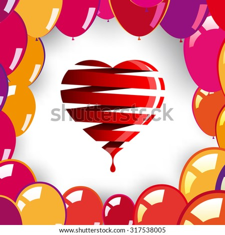 LOVE heart with balloons, Valentines Day theme - stock vector