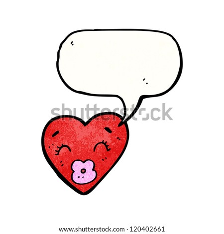 love heart with speech bubble cartoon