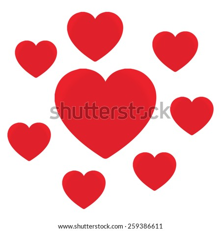 Love hearts, A collection of love hearts, there are small love hearts surrounding a large heart in the centre. - stock vector