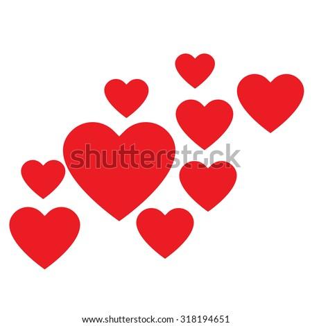Love Hearts Collection Love Hearts Vector Stock Vector 318194651