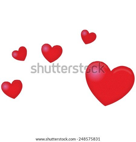 love hearts, four small and one large red love hearts. textured love heart shape. - stock vector
