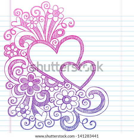 Love Hearts Frame Border Valentine's Day Back to School Sketchy Notebook Doodles- Illustration Design on Lined Sketchbook Paper Background - stock vector