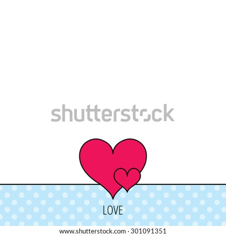 Love hearts icon. Lovers sign. Couple relationships. Circles seamless pattern. Background with red icon. Vector - stock vector