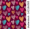 Love hearts seamless pattern. Cute doodle heart. Romantic hand drawn background. Vector illustration - stock vector