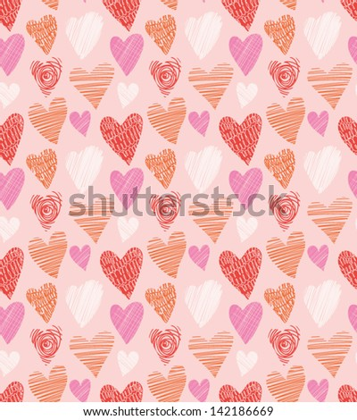 Love hearts seamless pattern. Cute doodle heart. Romantic hand drawn background. Vector illustration