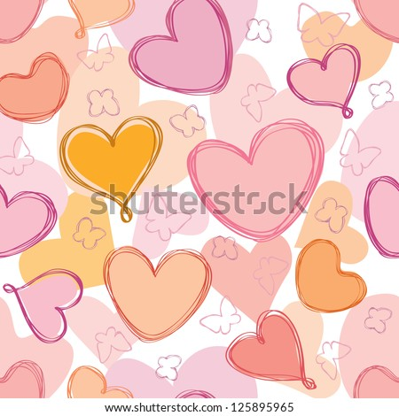 Love hearts Valentin's Day Seamless Pattern. Bright Vector seamless background. - stock vector