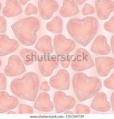 Love hearts Valentine Day Seamless Pattern. Abstract Pink Vector Background.