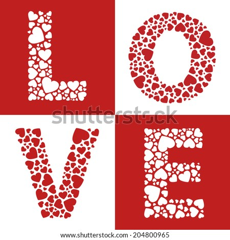 Love hearts valentines day message - stock vector