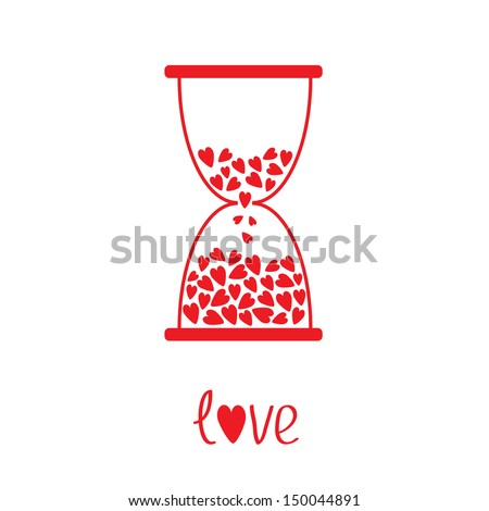 Love hourglass with hearts inside. Vector illustration. Card - stock vector