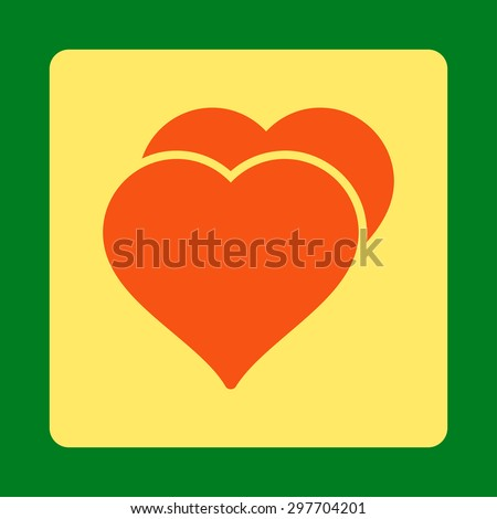 Love icon from Award Buttons OverColor Set. Icon style is orange and yellow colors, flat rounded square button, green background. - stock vector