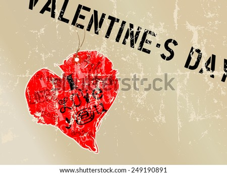 Love illustration for valentine's day, grungy style, free copy space,vector format - stock vector