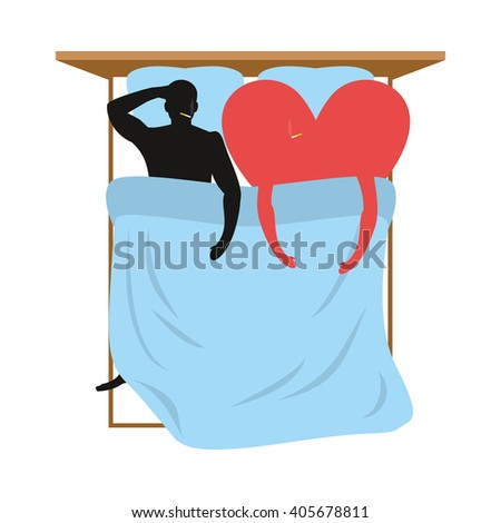 Love in bed. Lovers in bed top view. Man and heart lie in bed. Smoking after sex. Heart- symbol of love. Pillow and blanket. Smoking  cigarette after making love. Blue Bedding. Romantic illustration - stock vector