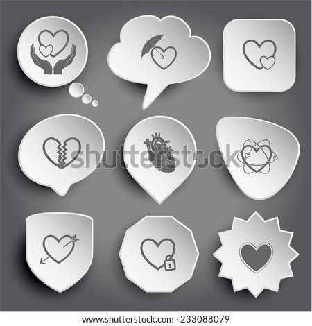love in hands, protection love, careful heart, unrequited love, atomic heart, heart and arrow, closed heart. White vector buttons on gray. - stock vector