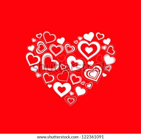 Love in hearts - stock vector
