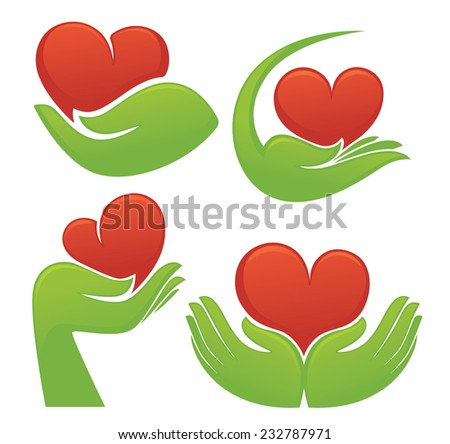 love in my green hands, symbols of human's hands and hearts - stock vector