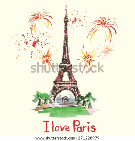 Love in Paris. Eiffel tower,lettering,pink hearts.Hand drawn watercolor decor.Vintage Vector illustration - stock vector
