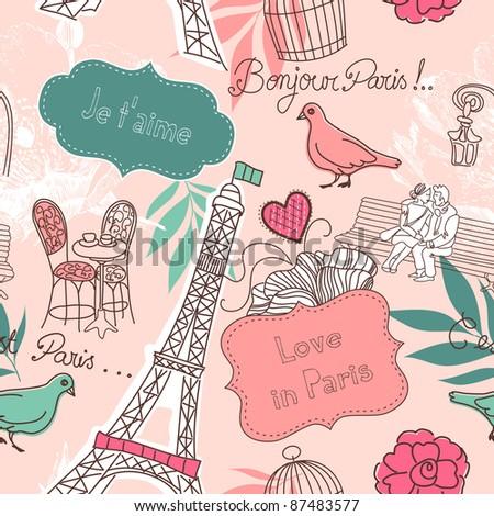 Love in Paris. Seamless pattern - stock vector