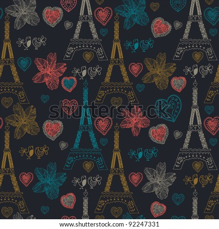 love in Paris seamless pattern