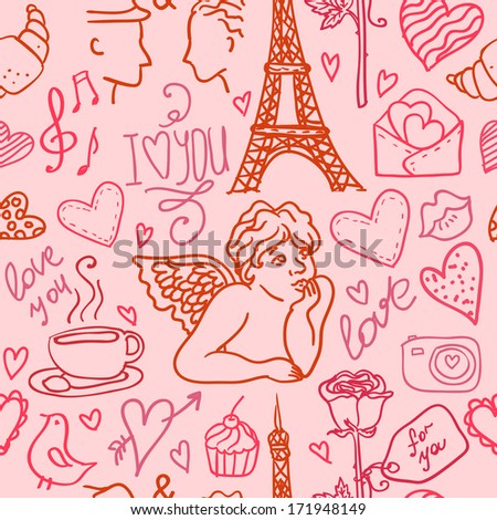 Love in Paris seamless pattern for Valentines day, vector background hand-drawn with doodles design element - stock vector