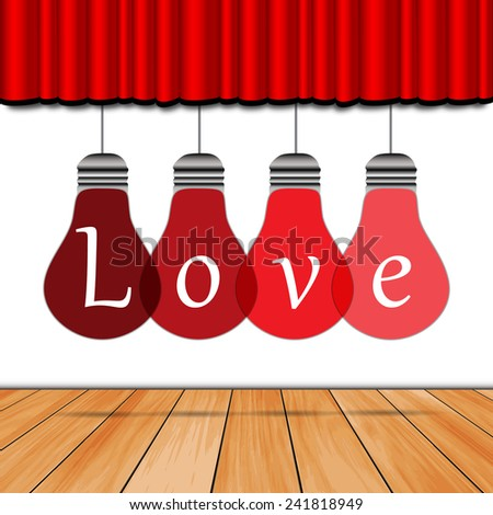 Love in the lamp, wooden floor, red curtain - stock vector