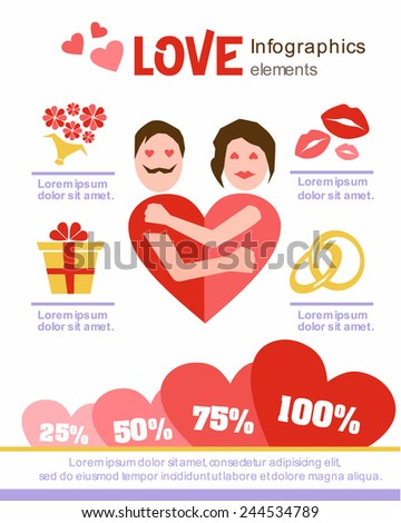 love infographics. Design elements. Valentine's Day. Date. Man and woman embracing. - stock vector