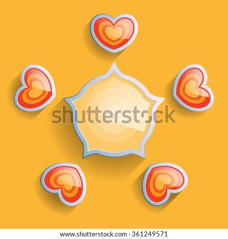 Love infographics elements for valentines day. Vector illustration scheme with hearts and sun. Web template. - stock vector