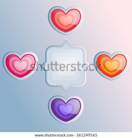 Love infographics elements for valentines day. Vector illustration scheme with hearts. Web template. - stock vector