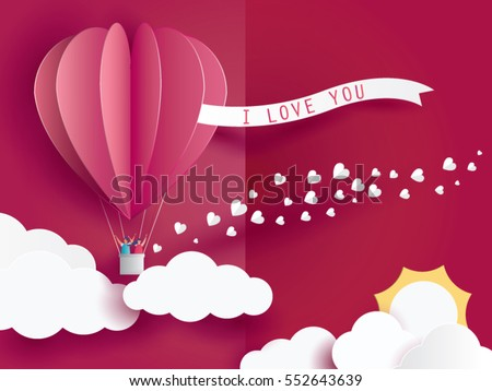 love Invitation card Valentine's day balloon heart on abstract background with text i love you and young joyful,clouds,sun,paper cut mini heart. Vector illustration.