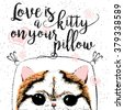 Love is a kitty on your pillow, love quote about pets. Vector outstanding lettering, calligraphy, motivational typography post card. Cute, friendly, smiling, inspirational cat with hearts and sparkle. - stock vector