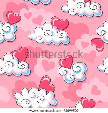 Love is in the air (continuous wallpaper) - stock vector