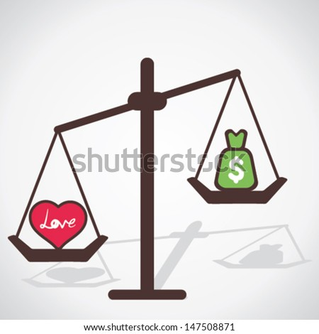 love is more valuable than money concept vector - stock vector