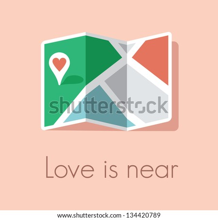 Love is near. Map and pin pointer with red heart symbol. Concept for finding love.