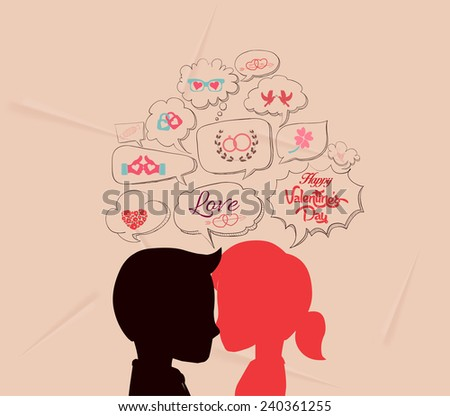 love is share the same thoughts and valentines - stock vector