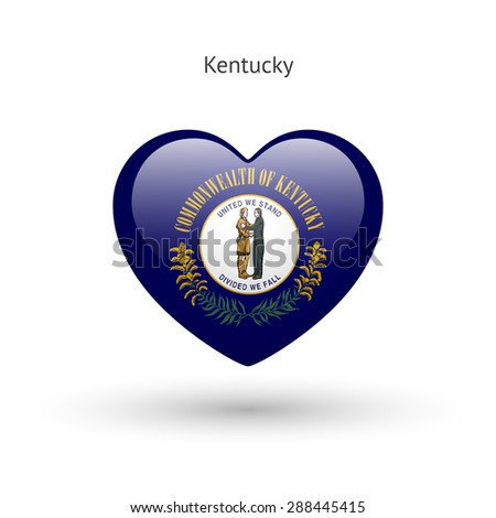 Love Kentucky state symbol. Heart flag icon. Vector illustration. - stock vector