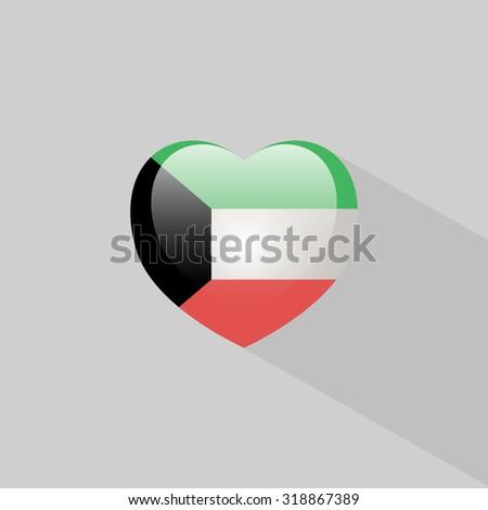 Love Kuwait symbol Heart flag icon. Vector illustration. - stock vector